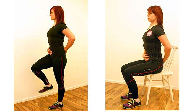 Tasapaino yhdellä jalalla (vas.): Aloita aktivointi lantionpohjanlihaksista ja vedä napa sisään kevyesti. Selässä neutraali notko ja hyvä ryhti. Nosta yksi jalka ilmaan ja pidä tasapaino 4-6 sek. Vaihda toiselle jalalle, työskentele hitaasti ja kontrolloidusti. Aktivointi istualtaan (oik.): Aloita aktivointi lantionpohjanlihaksista ja vedä napa sisään kevyesti. Selässä neutraali notko ja hyvä ryhti. Pidä aktivointi 2-3 sek ja rentoudu. Lepää 2 sek ja toista.