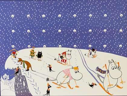 Muumi-joulukalenteri, jonka luukuista saa muistipelin.