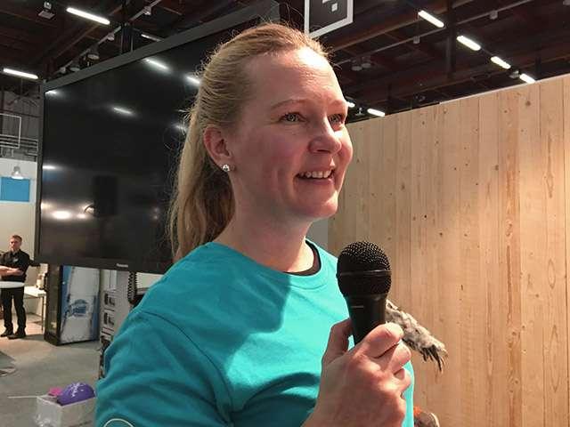 Anne Kuusisto Neuvokas perhe -hankkeesta puhui Lapsimessuilla pelaamisen rajoittamisesta.