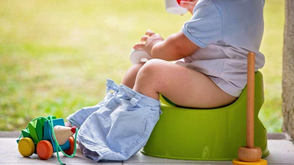 Kesällä kuivaksi opettelija voi pissata pihalla pottaan – tai vaikka puskaan. Kuva: iStock